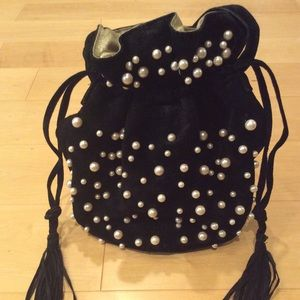 VINTAGE Black suede & pearl drawstring bucket bag